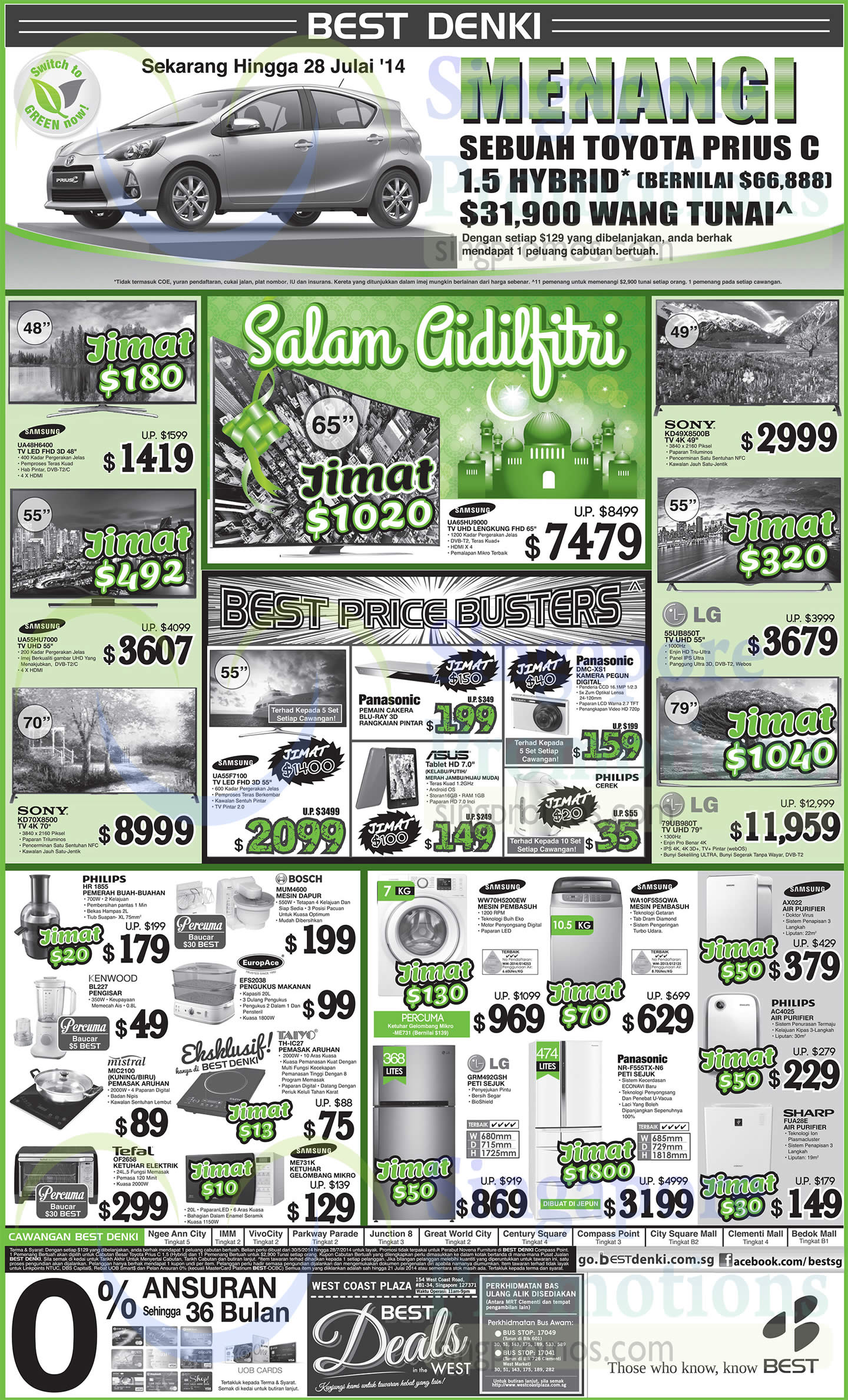 Samsung UA48H6400 TV, Samsung UA55HU7000 TV, SONY KD-70X8500 TV, PHILIPS HR1855 Fruit Juicer, Bosch MUM4600 Kitchen Machine, EUROPACE EFS2038 Food steamer, Kenwood BL227 Blender, Mistral MIC2100 Cooker, Taiyo TH-IC27 Cooker, Samsung ME731K Oven, Tefal OF2658 Oven, LG GRM492GSH Fridge, Panasonic NR-N6-F555TX Fridge, Samsung WA10F5S5GWA Washer, Samsung WW70H5200EW Washer, SHARP FUA28E Air Purifier, AC4025 PHILIPS Water Purifier, Samsung AX022 Water Purifier, LG 79UB980T TV, LG 55UB850T TV, Panasonic DMC-XS1 Digital Camera and SONY KD-49X8500B TV