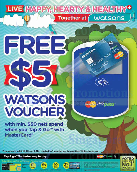 MasterCard Tap n Go Free 5 Dollar Watsons Voucher