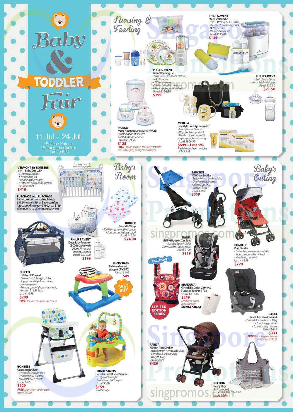 Nursing, Feeding, Baby Room, Outing Accessories Philips Avent, Medela, Manduca, Bright Starts