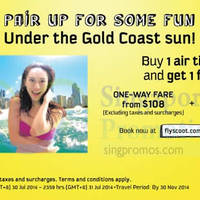 Read more about Scoot 1 For 1 Gold Coast Air Tickets Promo 30 - 31 Jul 2014