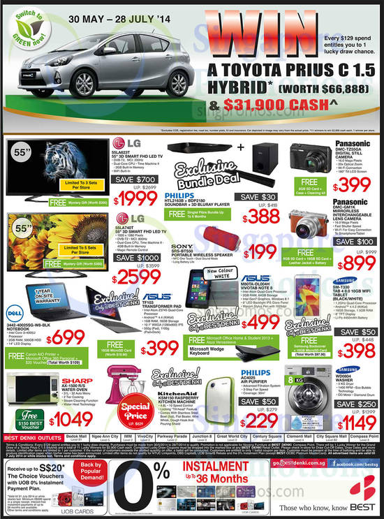 LG 55LA623T TV, LG 55LA740T TV, ASUS TF103 Notebook, Dell 3442-40025SG-W8-BLK Notebook, Philips HTL2163B Soundbar, Philips BDP2180 Blu-Ray Player, Sony SRS-BTS50 Speaker, ASUS M80TA-DL004H Tablet, Samsung Galaxy Tab 4 8.0, Panasonic DMC-TZ55GA Digital Camera, Panasonic DMC-GM1K Digital Camera, Sharp AX-1500 Oven, KitchenAid KSM150 Mixer, Philips AC4025 Air Purifier and Samsung WD0804 Washer