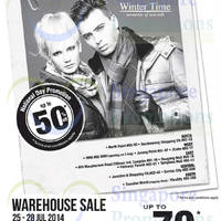 Read more about Winter Time Up to 70% Off Warehouse SALE 25 - 28 Jul 2014