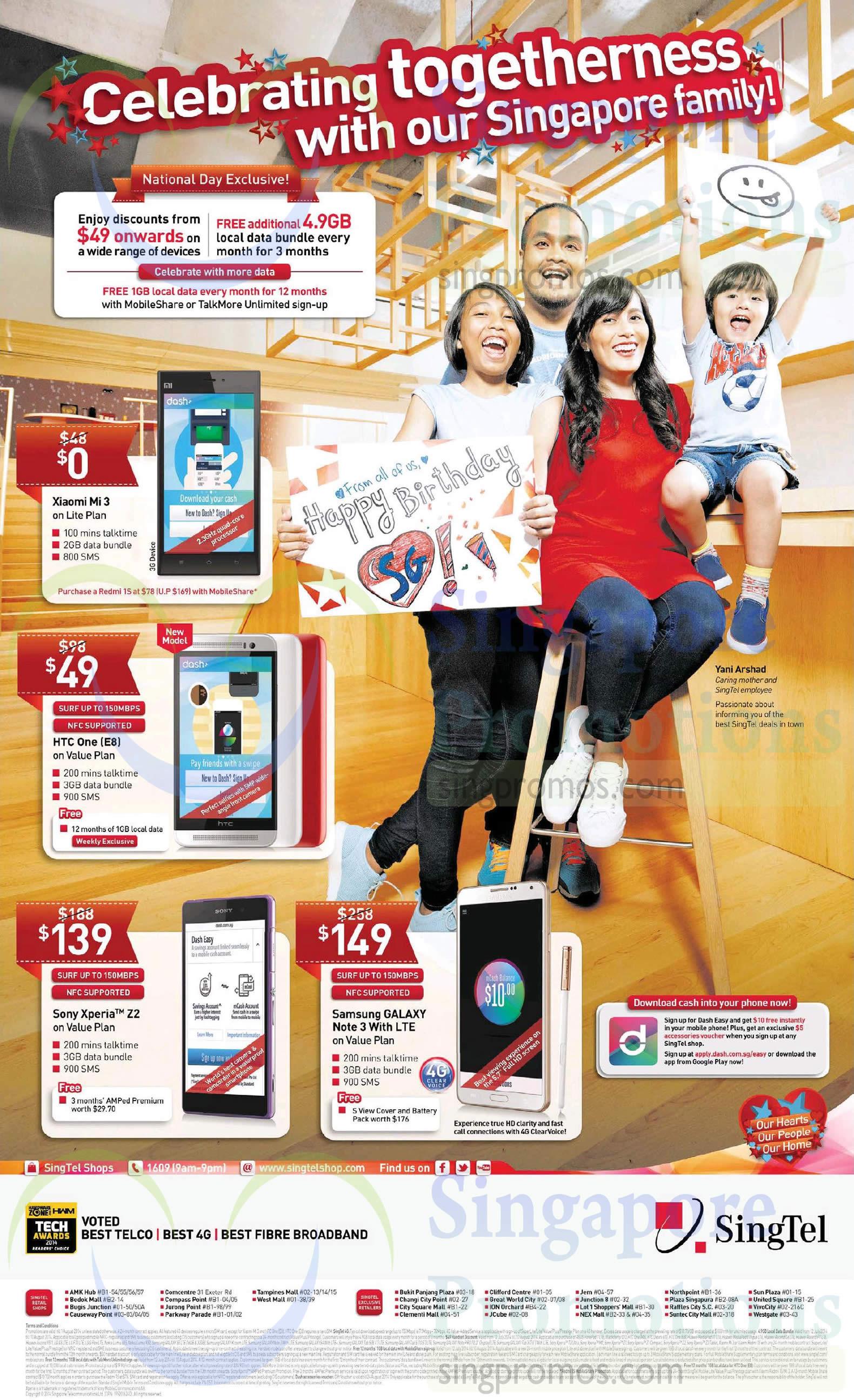 Xiaomi Mi3, HTC One E8, Sony Xperia Z2, Samsung Galaxy Note 3