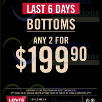 Read more about Levi's Any 2 Bottoms For $199.90 29 Aug - 22 Oct 2014
