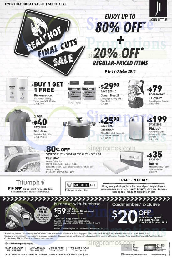 9 Oct Baby Carrier, T Shirt, Saucepot, Air Purifier, Bedsheet Set, Trade-In, Triumph Offer, Purchase with Purchase