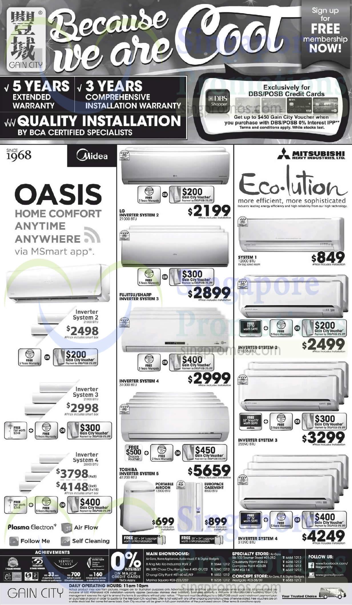 Air Conditioners, Midea, LG, Toshiba, Fujitsu, Mitsubishi Electric