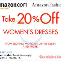 Read more about Amazon.com 20% OFF Branded Women's Dresses Coupon Code (NO Min Spend) 2 - 9 Aug 2014