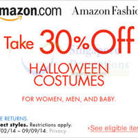 Amazon.com 30% OFF Halloween Costumes Coupon Code (NO Min Spend) 31 Aug - 10 Sep 2014