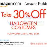 Amazon.com 30% OFF Halloween Costumes Coupon Code (NO Min Spend) 31 Aug - 10 Sep 2014