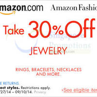 Amazon.com 30% OFF Jewelry Coupon Code (NO Min Spend) 31 Aug - 11 Sep 2014