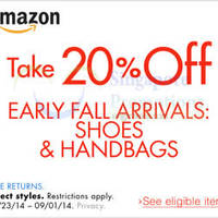 Amazon.com 20% OFF Shoes & Handbags Coupon Code (NO Min Spend) 31 Aug - 2 Sep 2014