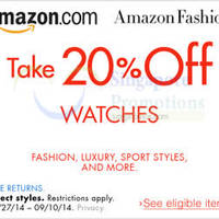 Amazon.com 20% OFF Watches Coupon Code (NO Min Spend) 31 Aug - 11 Sep 2014