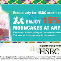 Bakerzin 15% Off Mooncakes For HSBC Cardmembers 22 Aug - 8 Sep 2014