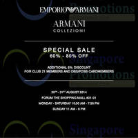 Read more about Club 21 Emporio Armani & Armani Collezioni SALE @ Forum 20 - 31 Aug 2014