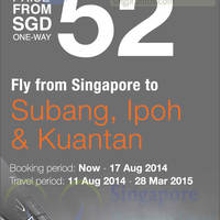 Read more about Firefly From $52 Subang, Ipoh & Kuantan Promo Air Fares 7 - 17 Aug 2014