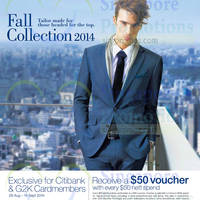 G2000 Spend $50 & Get $50 Voucher For Citibank / G2000 Cardmembers 28 Aug - 14 Sep 2014