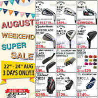 Golf Direct August Weekend Special Offers 22 - 24 Aug 2014