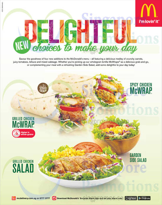 Grilled Chicken McWrap, Spicy Chicken McWrap, Garden Side Salad, Grilled Chicken Salad