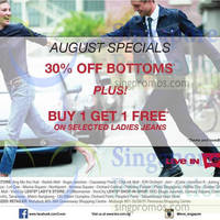 Read more about Levi's 30% OFF Bottoms & Buy 1 Get 1 Free Selected Jeans Promo 8 - 31 Aug 2014