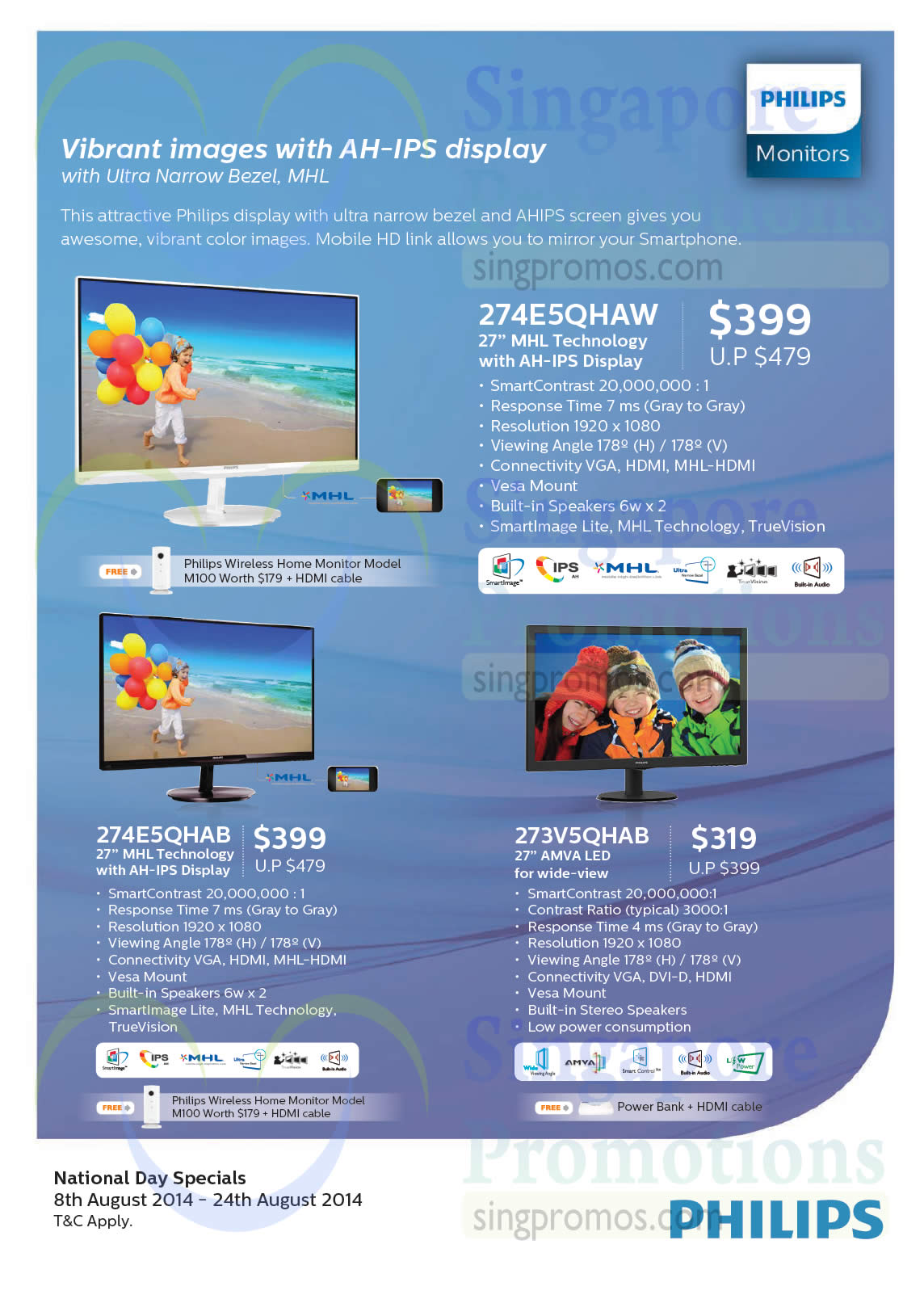 Philips 274E5QHAW Monitor, Philips 274E5QHAB Monitor, Philips 273V5QHAB Monitor