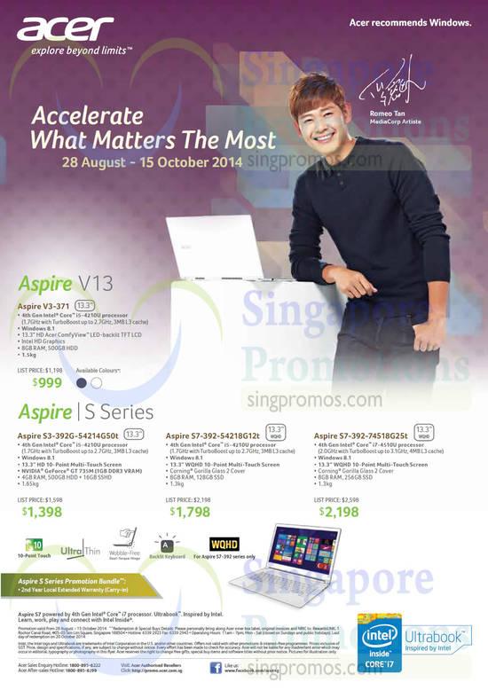 Acer V3-371 Notebook, Acer S3-392G-54214G50t Notebook, Acer S7-392-54218G12t Notebook, Acer S7-392-74518G25t Notebook