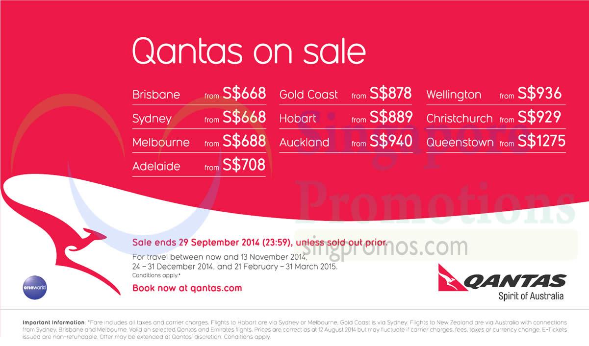 Qantas Promotion Air Fares 21 Aug 29 Sep 2014