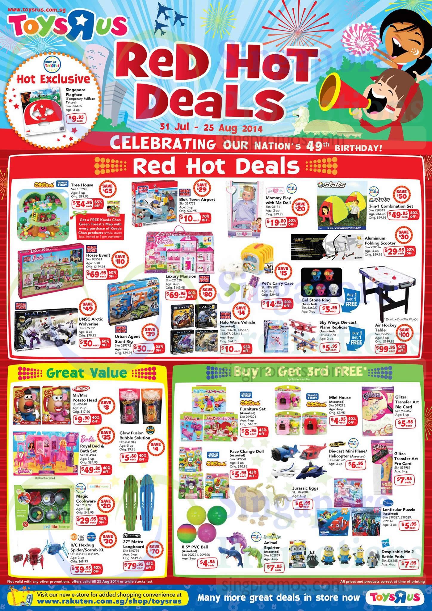 Red Hot Deals Great Value, Buy 2 Get 3 Free, Takara Tomy, Stats, Barbie, Mega Bloks, Fast Lane, Playskool, Hexbug Nano