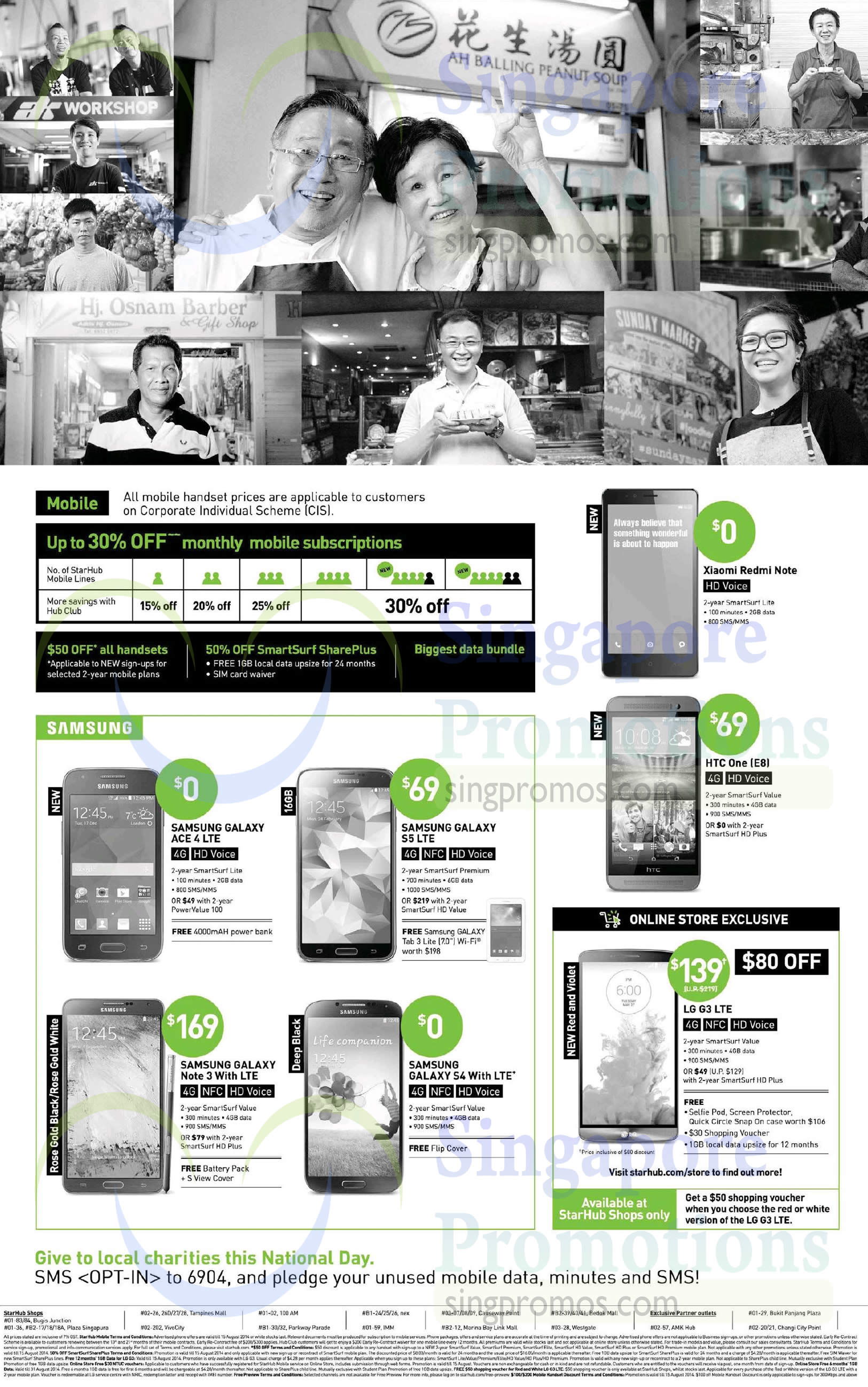 Samsung Galaxy Ace 4, Samsung Galaxy S5, Samsung Galaxy Note 3, Samsung Galaxy Galaxy S4, LG G3, HTC One E8, Xiaomi Redmi Note, Up To 30 Percent Off Monthly Mobile Subscriptions