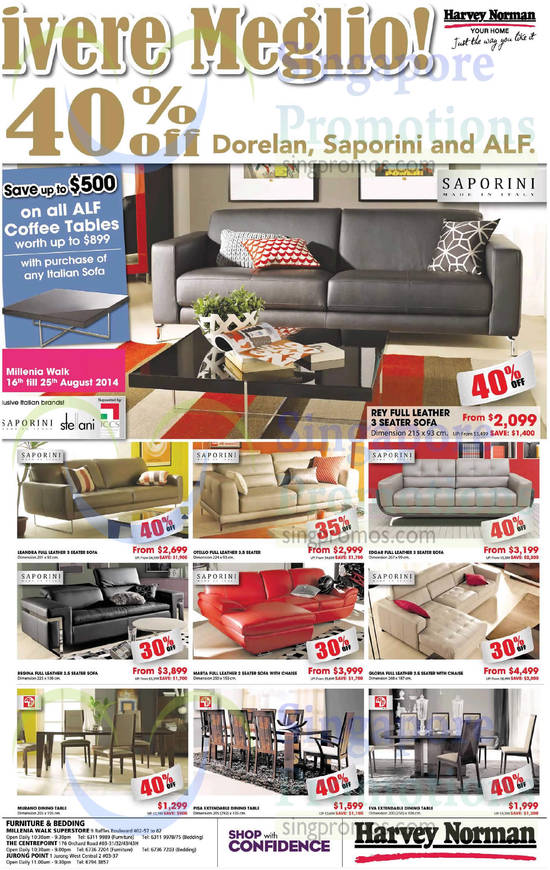 Saporini Rey Sofa, Saporini Leandra Sofa, Saporini Otello Sofa, Saporini Edgar Sofa, Saporini Gloria Sofa, Saporini Marta Sofa, Saporini Regina Sofa, ALF Murano Dining Table, ALF Pisa Dining Table, ALF Eva Dining Table