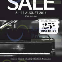 Read more about Steinway Gallery Pianos Relocation SALE 8 - 17 Aug 2014