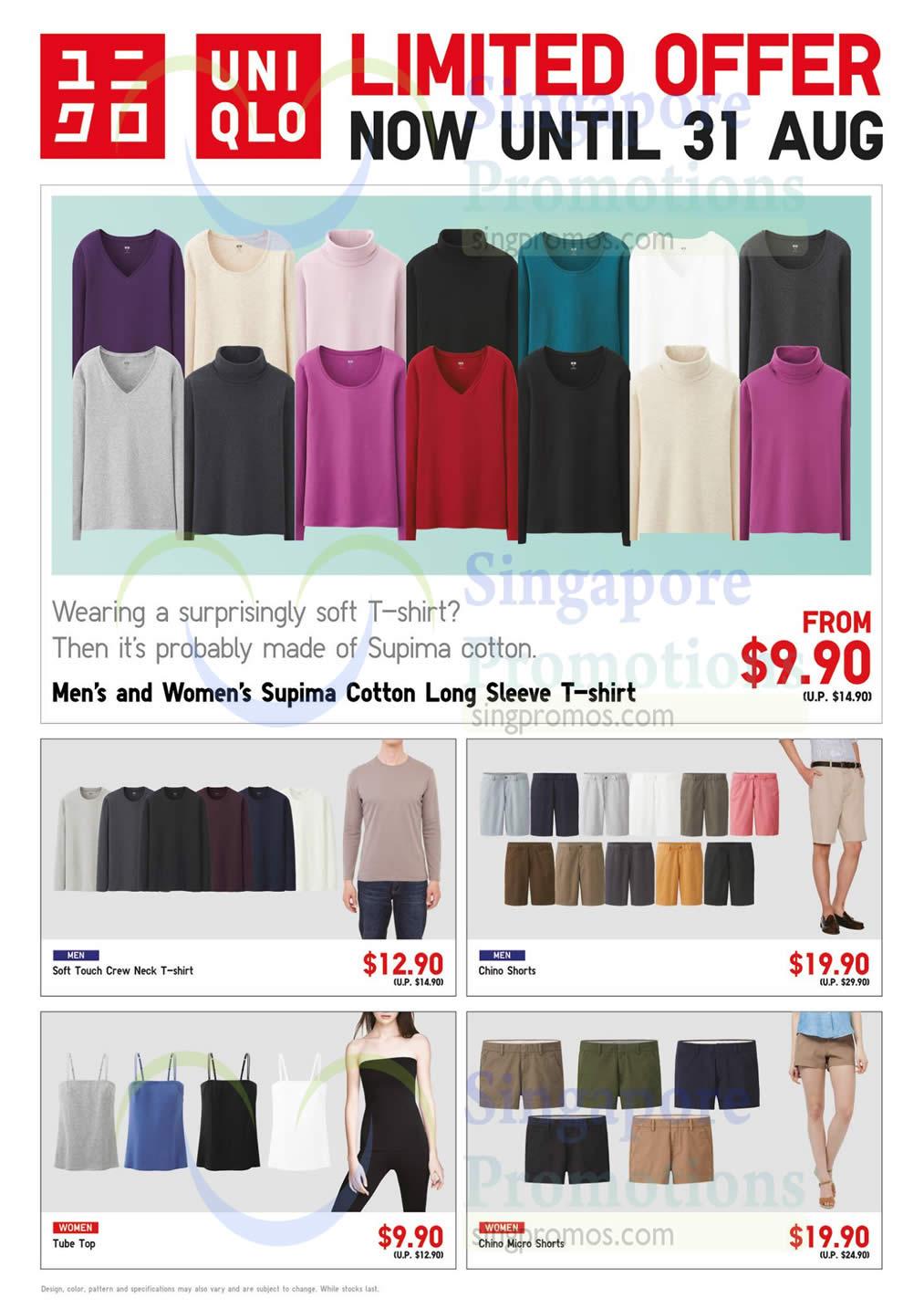 Supima Cotton, T-Shirt, Shorts, Tube Top, Chino Micro Shorts