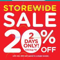 Read more about Watsons 20% OFF Storewide Two Days Sale 5 - 6 Aug 2014