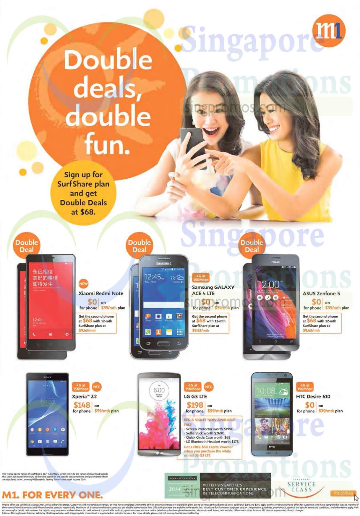 Xiaomi Redmi Note, Samsung Galaxy Ace 4, Asus Zenfone 5, Sony Xperia Z2, Lg G3, HTC Desire 610, Surfshare Plan Double Deals