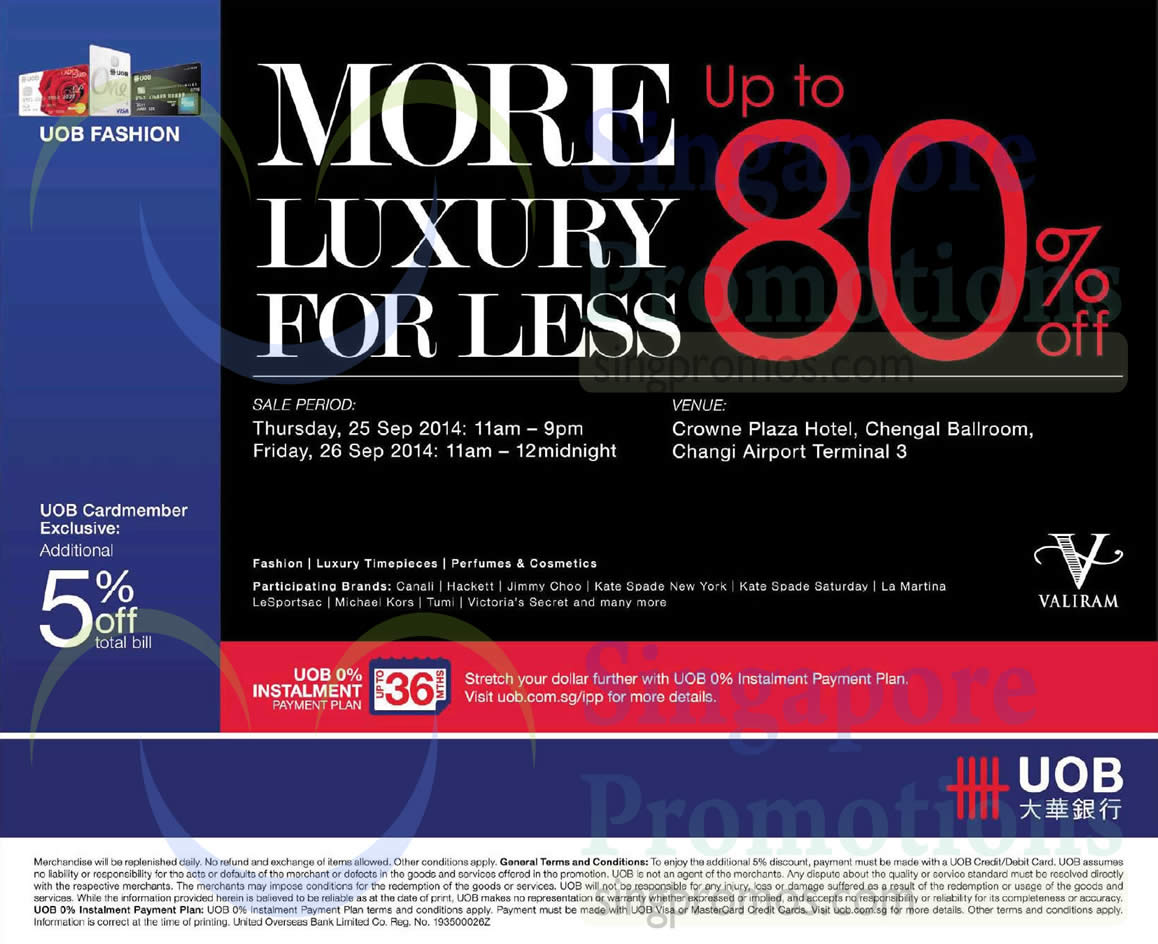 24 Sep Additional 5 Percent Off For UOB Cardmembers