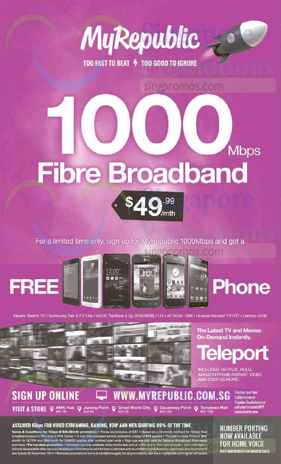 8 Nov 49.99 1000Mbps Fibre Broadband, Free Phones, Teleport