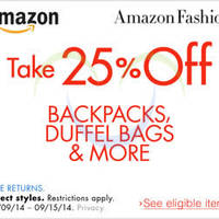 Read more about Amazon.com 25% OFF Backpacks, Duffel Bags & More Coupon Code (NO Min Spend) 11 - 16 Sep 2014