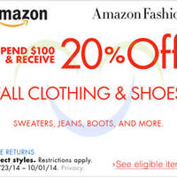 Read more about Amazon.com 20% OFF Fall Clothing & Shoes Coupon Code 23 Sep - 1 Oct 2014