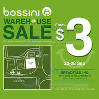 Bossini Warehouse SALE 22 - 28 Sep 2014