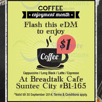 BreadTalk Cafe $1 Coffee Coupon @ Suntec City 2 - 30 Sep 2014