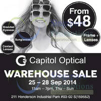 Capitol Optical Warehouse SALE 25 - 28 Sep 2014