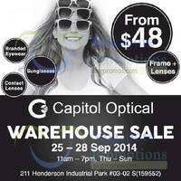 Capitol Optical Warehouse SALE 25 - 28 Sep 2014