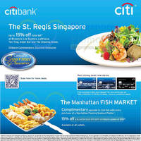 St. Regis & Manhattan Fish Market Up To 15% Off For Citibank Cardmembers 21 Sep 2014