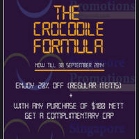 Read more about Crocodile 20% Off Promotion 8 - 30 Sep 2014
