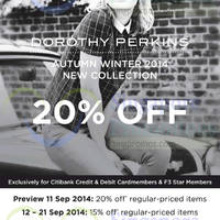 Read more about Dorothy Perkins New Collection 15% OFF For Citibank & F3 Members 11 - 21 Sep 2014