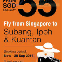 Firefly From $55 Subang, Ipoh & Kuantan Promo Air Fares 23 - 28 Sep 2014