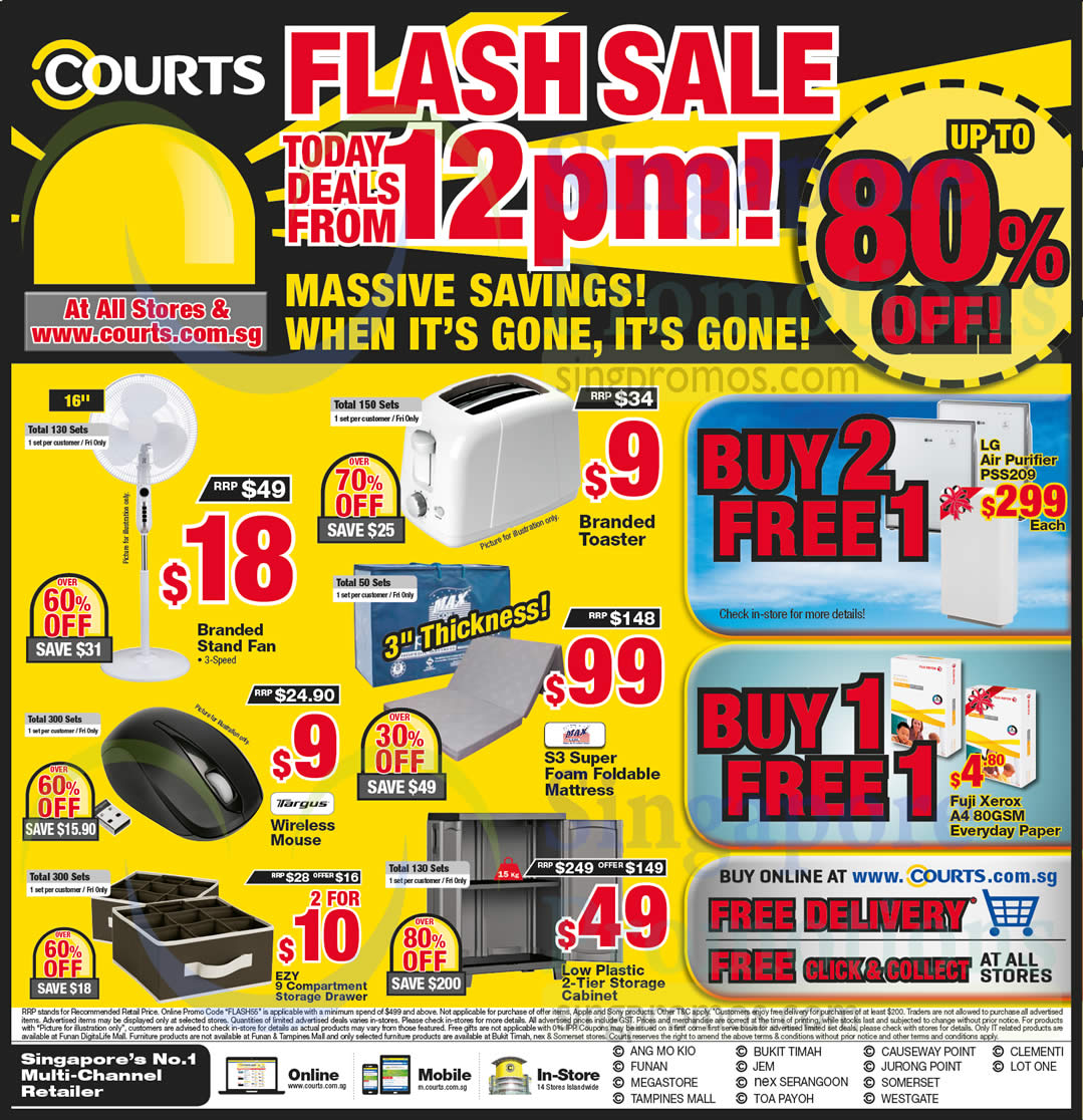 Flash Sale Items From 12 PM Toaster, Fan, Mattress, Storage Cabinet, Mouse
