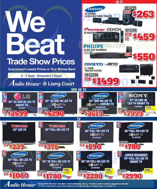 Samsung HT-H4500K Home Theatre System, LG 55LA9650 TV, Samsung UA-65F9000 TV, Samsung UA-55HU7200 TV, Sony 70X8500B TV, Samsung UA-40F5300 TV, Samsung UA-46F5300 TV, Samsung UA-50F5500 TV, Samsung UA-55F6700 TV, Samsung UA-60F6400 TV