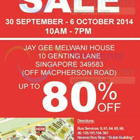 Read more about Jay Gee Warehouse SALE 30 Sep - 6 Oct 2014