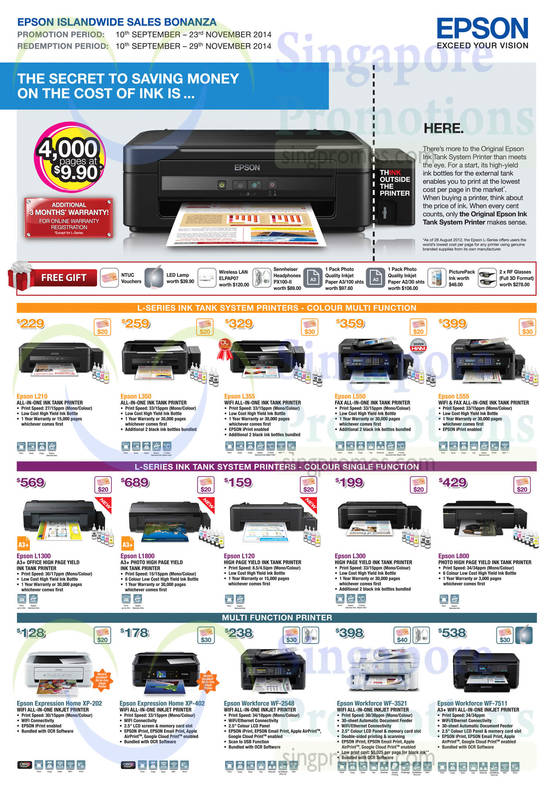 Epson L210 AIO Printer, Epson L350 AIO Printer, Epson L355 AIO Printer, Epson L550 AIO Printer, Epson L555 AIO Printer, Epson L1300 Printer, Epson L1800 Printer, Epson L120 Printer, Epson L300 Printer, Epson L800 Printer, Epson Expression Home XP-202 AIO Printer, Epson Expression Home XP-402 AIO Printer, Epson Workforce WF-2548 AIO Printer, Epson Workforce WF-3521 AIO Printer and Epson Workforce WF-7511 AIO Printer