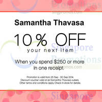Read more about Samantha Thavasa Spend $250 & Get 10% Off Voucher 25 - 30 Sep 2014